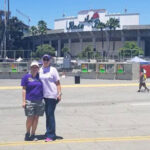 Teri and Heather in front of the Rose Bowl